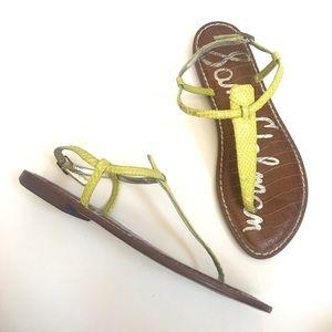 Sam Edelman Gigi T strap neon embossed sandal 8.5